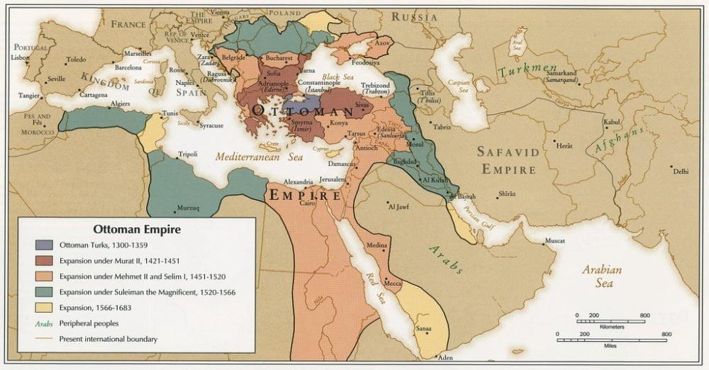 خريطة الإمبراطورية العثمانية